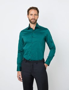 Men's Curtis Dark Green Jacquard Relaxed Slim Fit Shirt  - Single Cuff
