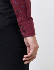 Men's Curtis Burgundy Dobby Spots Relaxed Slim Fit Shirt - Low Collar - Single Cuff
