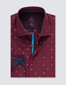 Men's Curtis Burgundy Jacquard Small Spots Piccadilly Relaxed Slim Fit Shirt - Low Collar - Single Cuff