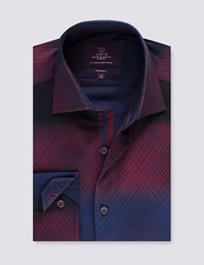 Men's Curtis Burgundy Jacquard Relaxed Slim Fit Shirt  - Single Cuffs