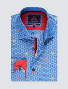 Men's Curtis Blue & Yellow Honeycomb Relaxed Slim Fit Shirt - Low Collar