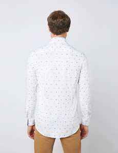 Men's Curtis White & Blue Spot Relaxed Slim Fit Shirt - Low Collar