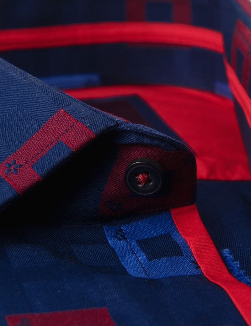 Men's Curtis Navy & Red Squares Relaxed Slim Fit Shirt - Low Collar - Single Cuff