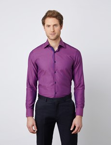 Men's Curtis Fuchsia & Navy Relaxed Slim Fit Shirt - Low Collar - Single Cuff