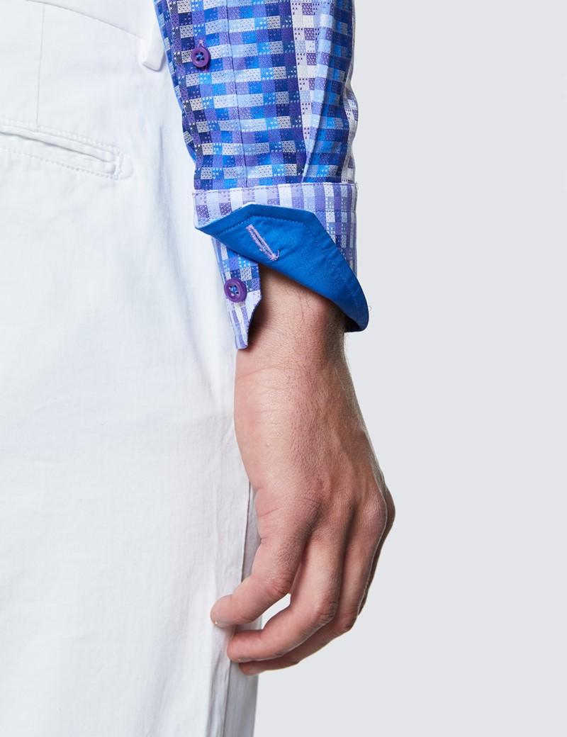 Men's Curtis Navy and Blue Cotton Shirt - Low Collar