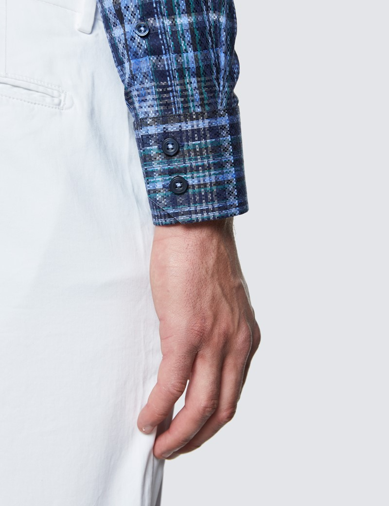 Men's Curtis Navy and Green Cotton Check Shirt - Low Collar