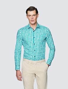 Men's Curtis Green and White Cotton Check Shirt - Low Collar