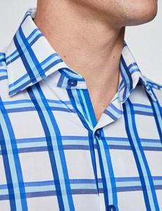 Men's Curtis White & Blue Medium Checks Relaxed Slim Fit Shirt - Low Collar