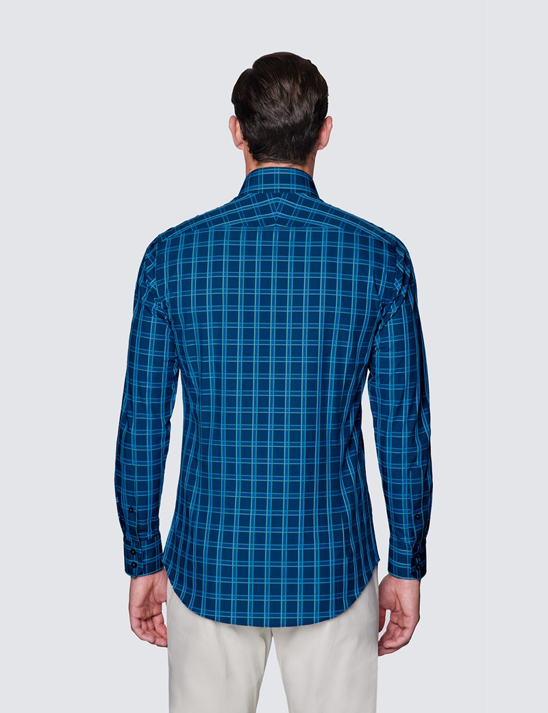 Men's Curtis Navy & Turquoise Check Piccadilly Slim Fit Shirt - Low Collar