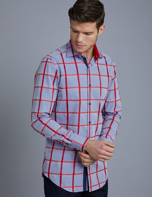 Men's Curtis Blue & Red Large Plaid Slim Fit Shirt with Contrast Detail - Single Cuff