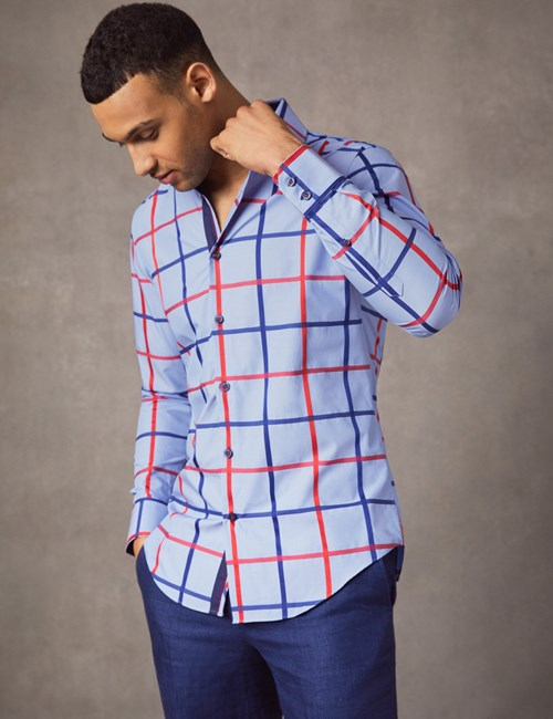 Men's Curtis Blue & Red Large Check Slim Fit Shirt - Single Cuff