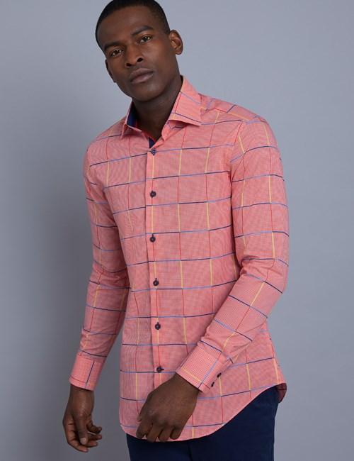 Men's Curtis Red & Blue Large Plaid Slim Fit Shirt - Single Cuff