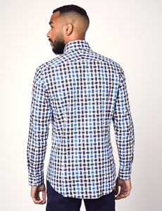 Men's Curtis Blue & Black Bi Colour Check Slim Fit Shirt - Single Cuff