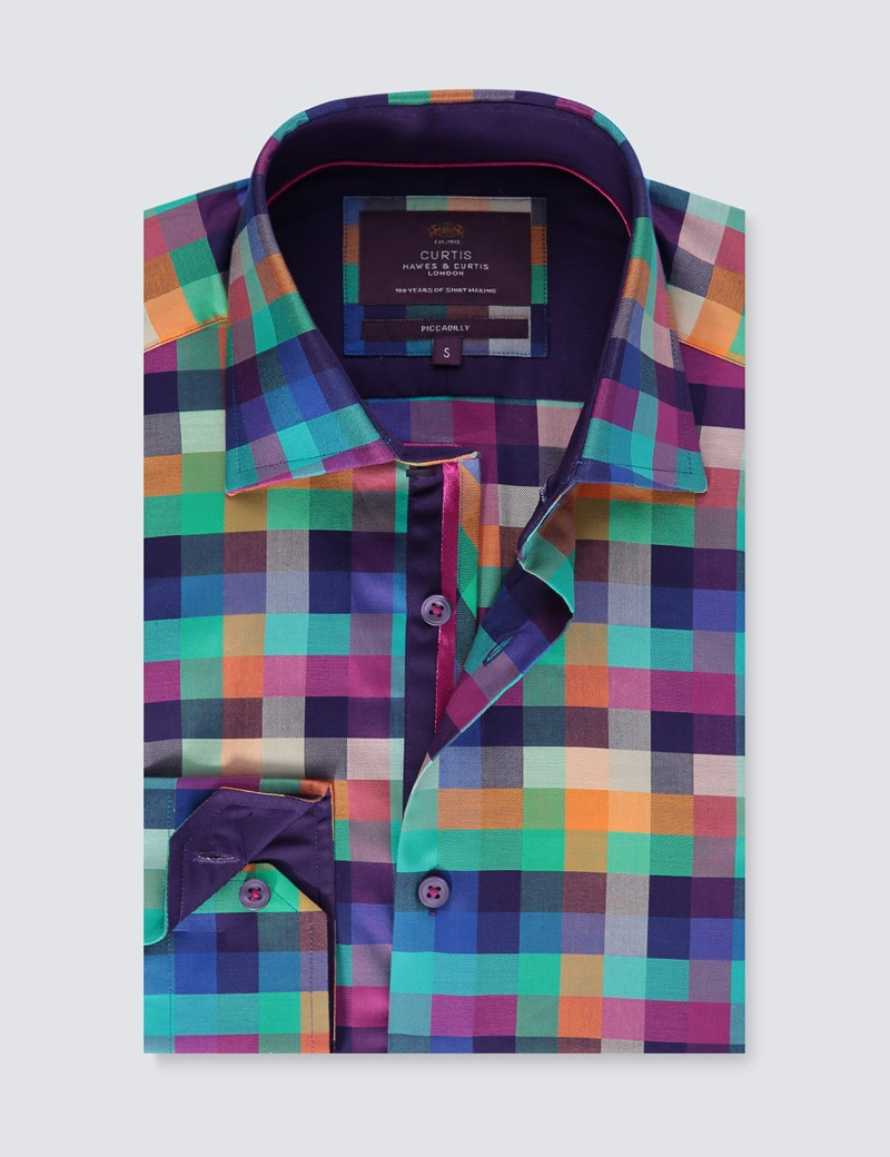Men's Curtis Purple & Green Check Slim Fit Shirt - Single Cuff
