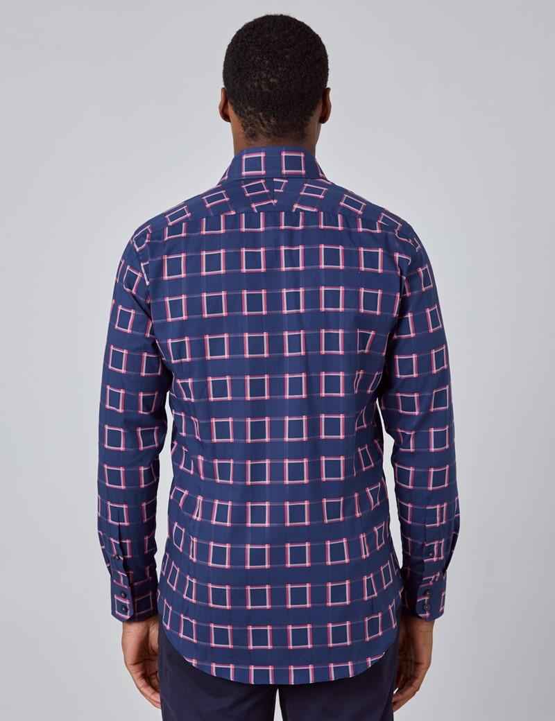 Men's Curtis Navy & Pink Check Slim Fit Shirt - Low Collar - Single Cuff