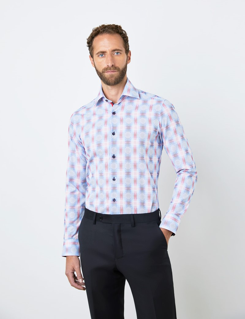 Men's Curtis Blue & Red Jacquard Circles and Checks Piccadilly Relaxed Slim Fit Shirt - Low Collar - Single Cuff