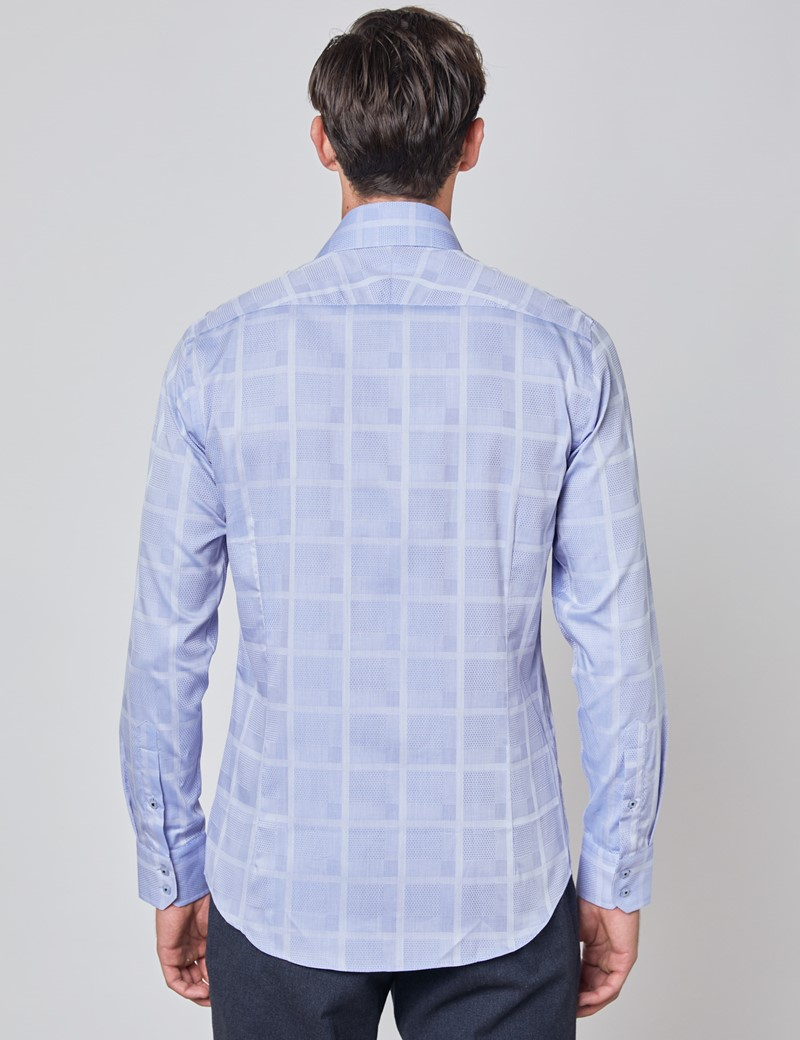 Men's Curtis Light Blue Jacquard Large Check Relaxed Slim Fit Shirt - Low Collar - Single Cuff