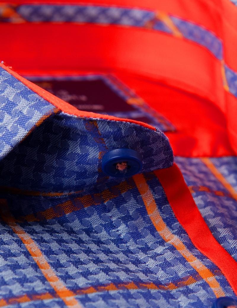 Casual Stretchhemd - Stretch Slim Fit - Kentkragen - blau orange Gitterkaro