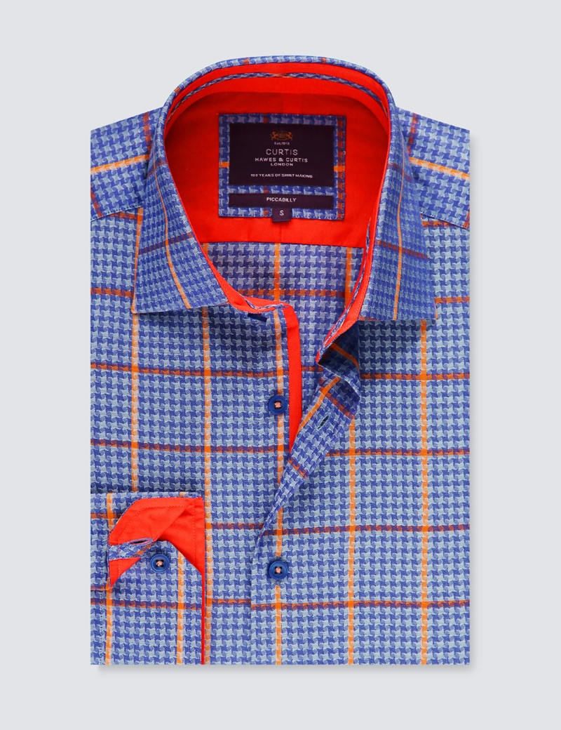 Men's Curtis Blue & Orange Check Piccadilly Stretch Slim Fit Shirt - Low Collar - Single Cuff