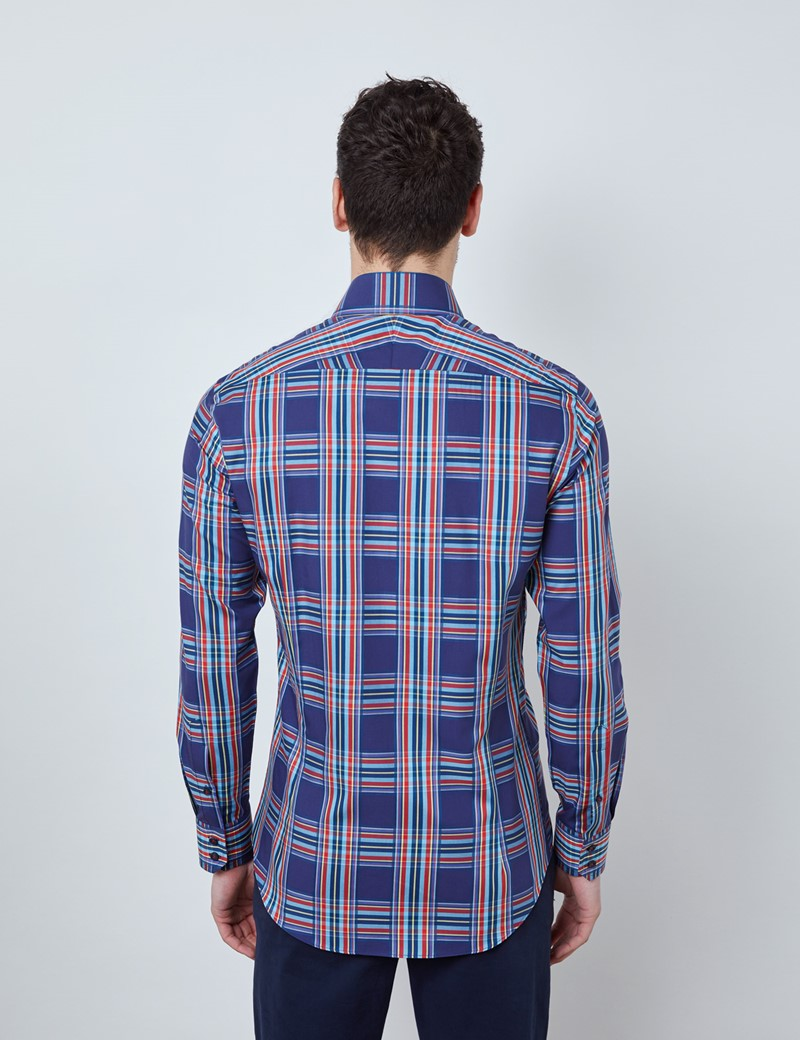 Men's Curtis Navy & Red Multi Check Relaxed Slim Fit Shirt - Low Collar