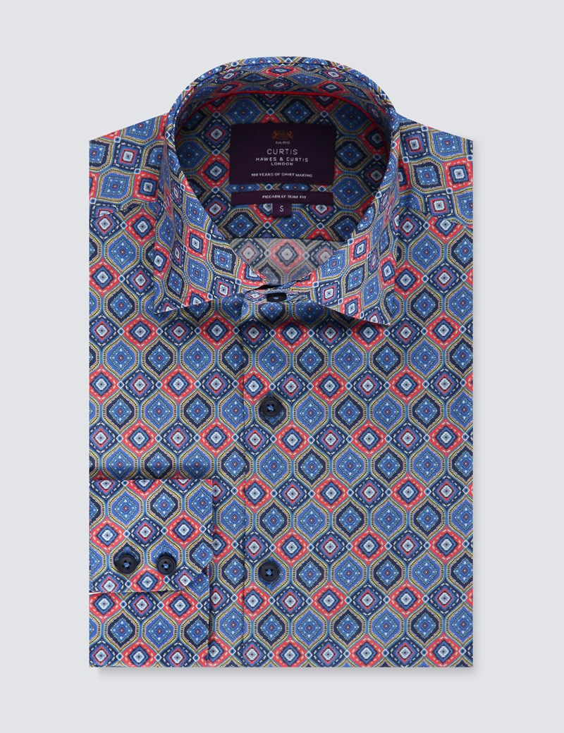 Men's Curtis Red & Navy Paisley Slim Fit Shirt - Single Cuff