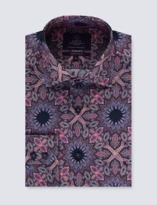 Men's Curtis Navy & Pink Paisley Slim Fit Shirt - Single Cuff