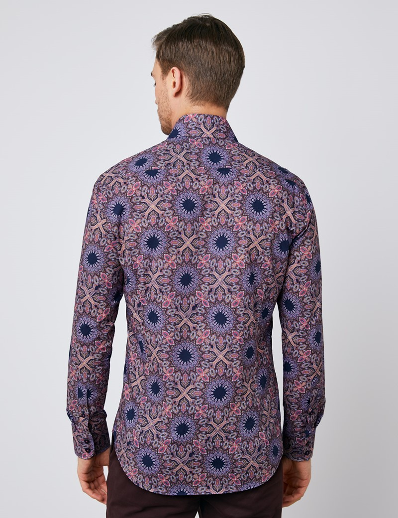 Men's Curtis Navy & Pink Paisley Relaxed Slim Fit Shirt - Single Cuff