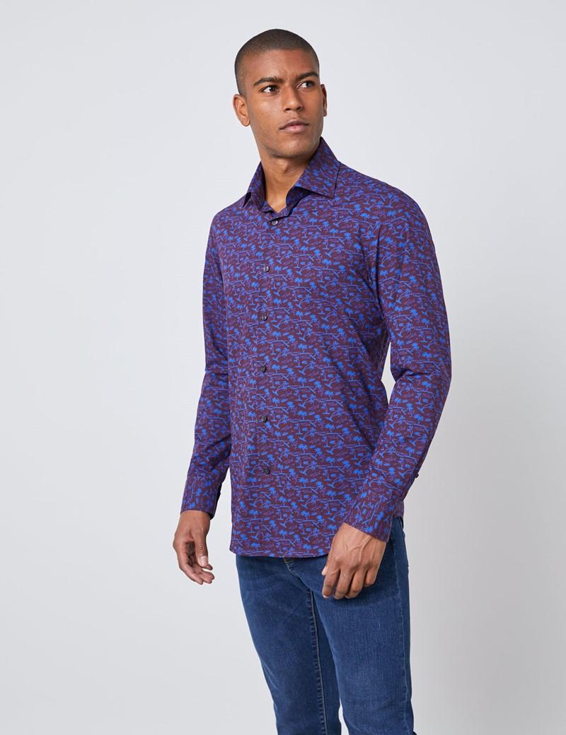 Men's Curtis Burgundy & Blue Palm Tree Print Slim Fit Shirt - Single Cuff