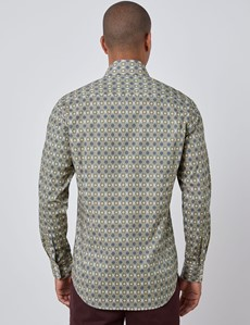 Men's Curtis White & Yellow Geometric Print Relaxed Slim Fit Shirt - Single Cuff