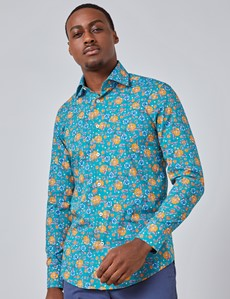 Men's Curtis Teal & Blue Floral Slim Fit Shirt - Single Cuff