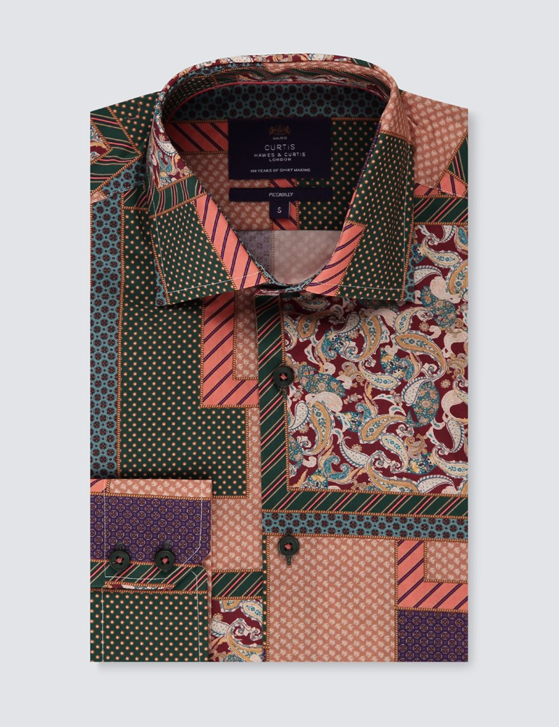 Men's Curtis Green & Purple Patchwork Piccadilly Slim Fit Shirt - Low Collar - Single Cuff