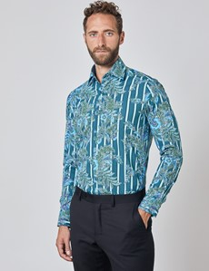Men's Curtis Teal & Blue Floral Stripes Relaxed Slim Fit Shirt - Low Collar - Single Cuff