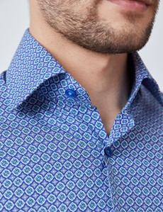Men's Curtis Blue & Green Geometric Print Relaxed Slim Fit Shirt – Low Collar