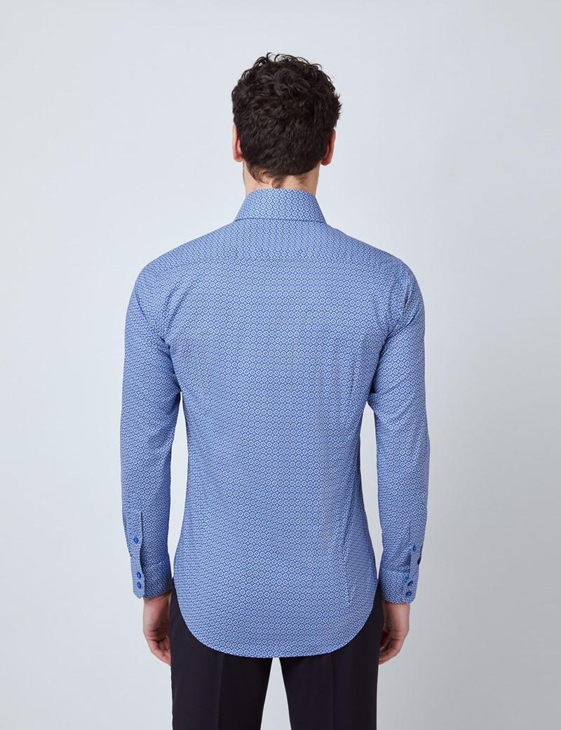 Casualhemd – Relaxed Slim Fit – Kentkragen – blau grün geometrischer Print