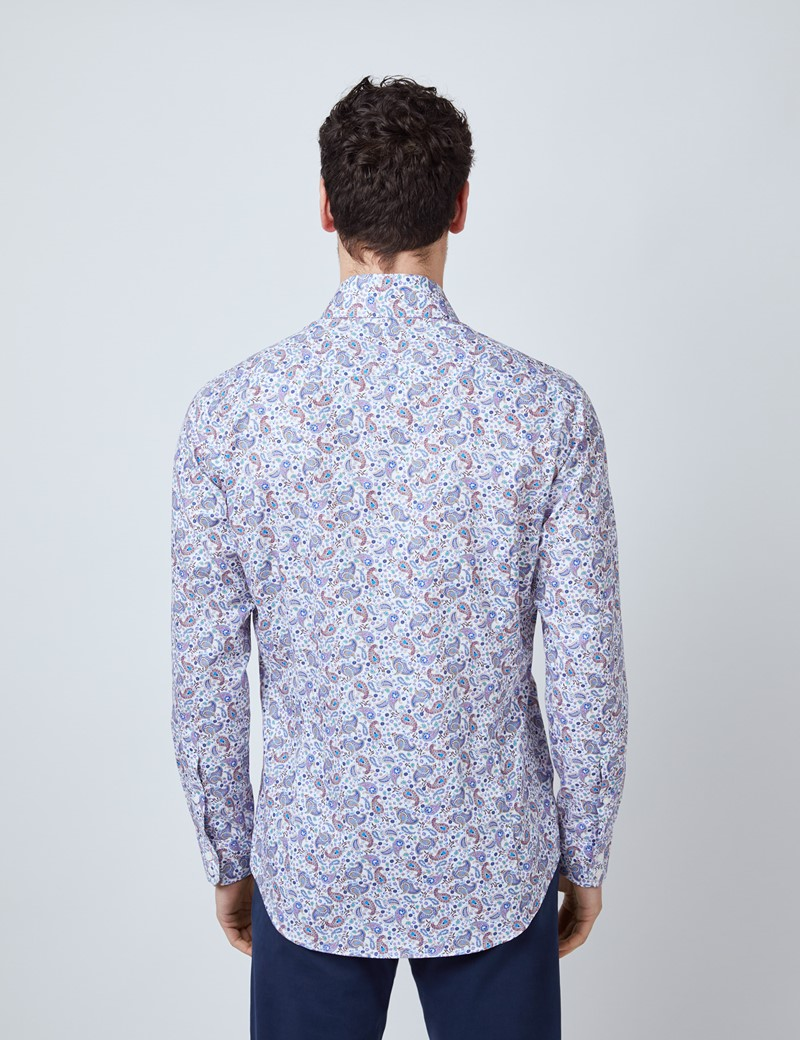 Men's Curtis White & Red Paisley Print Diamond Weave Relaxed Slim Fit Shirt – Low Collar