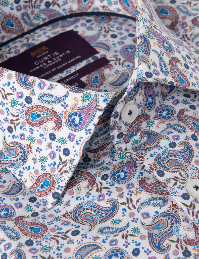 Men's Curtis White & Red Paisley Print Relaxed Slim Fit Shirt – Low Collar
