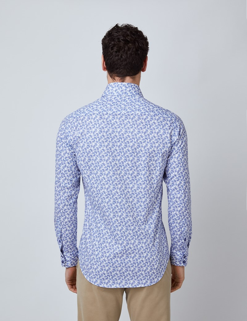 Men's Curtis White & Blue Mini Paisley Print Relaxed Slim Fit Shirt – Low Collar