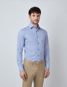Men's Curtis White & Blue Geometric Print Relaxed Slim Fit Shirt – Low Collar