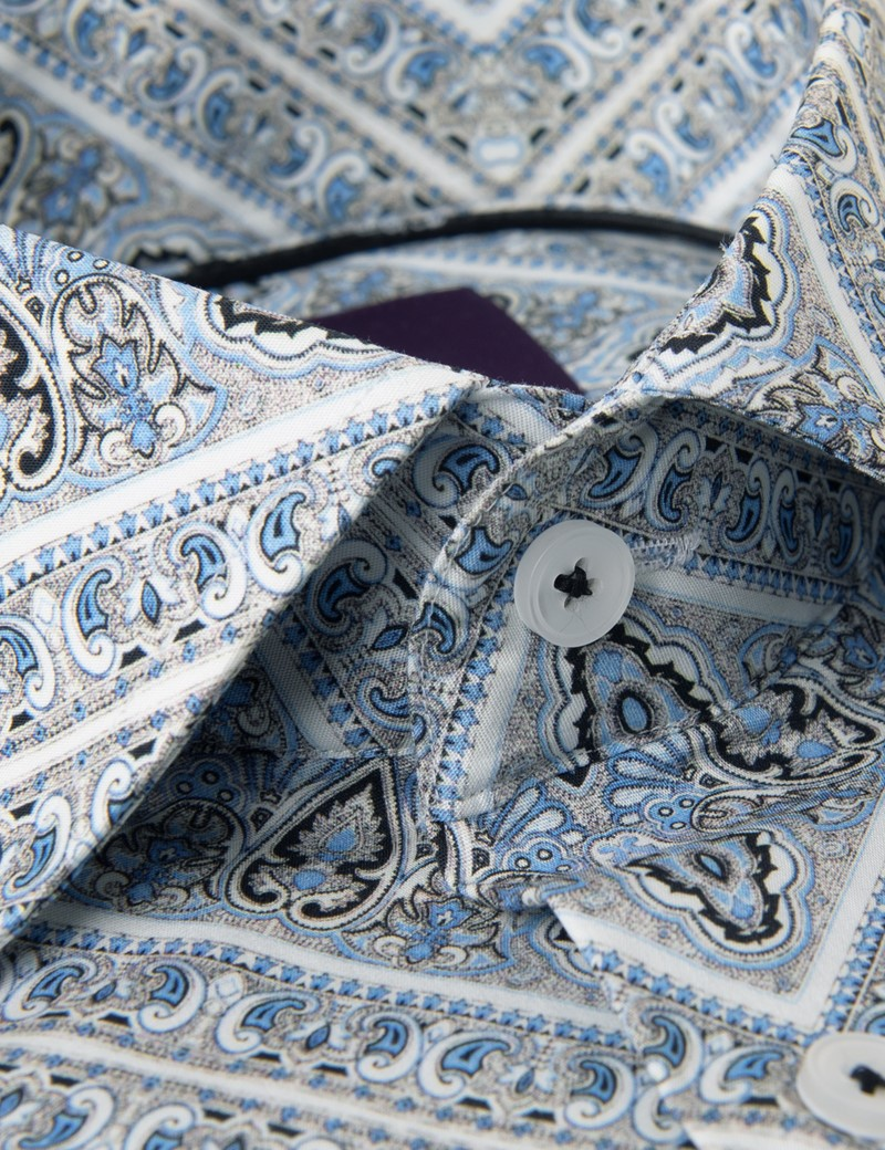 Men's Curtis Grey & Light Blue Paisley Slim Fit Shirt - Single Cuff