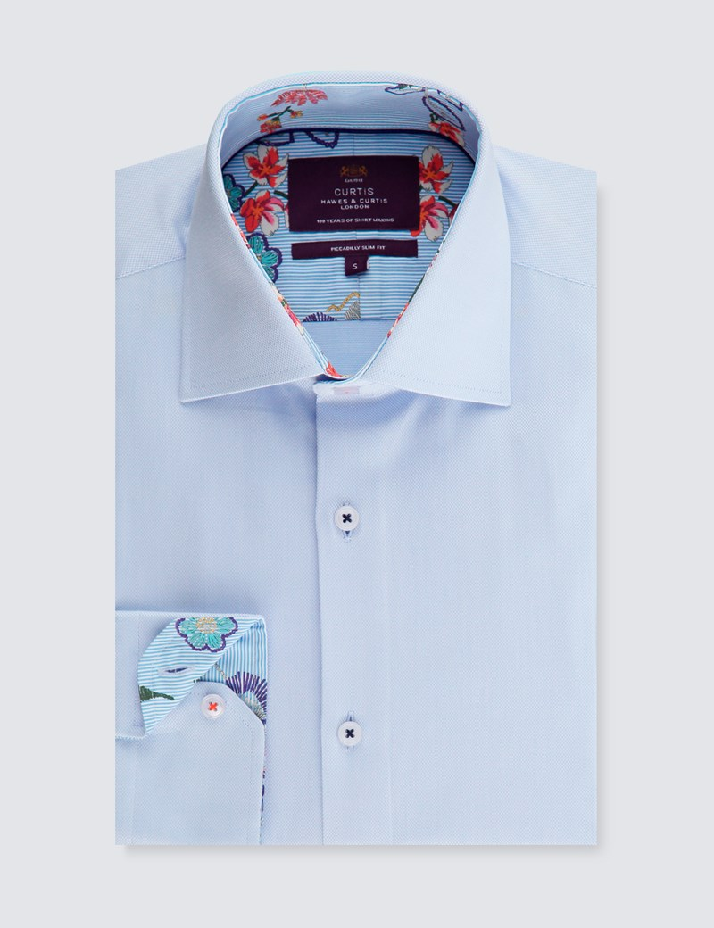 Men's Curtis Light Blue Slim Fit Shirt With Contrast - Single Cuff