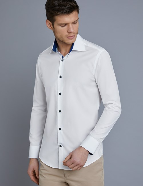Men's Curtis White Slim Fit Shirt With Blue Contrast Detail - Single Cuff