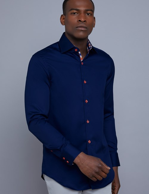 Men's Curtis Navy Slim Fit Shirt with Contrast Detail - Single Cuff