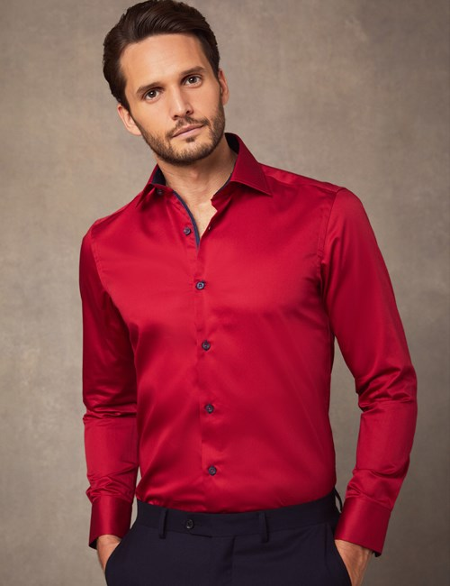 Men's Curtis Red Slim Fit Shirt with Contrast Detail - Single Cuff