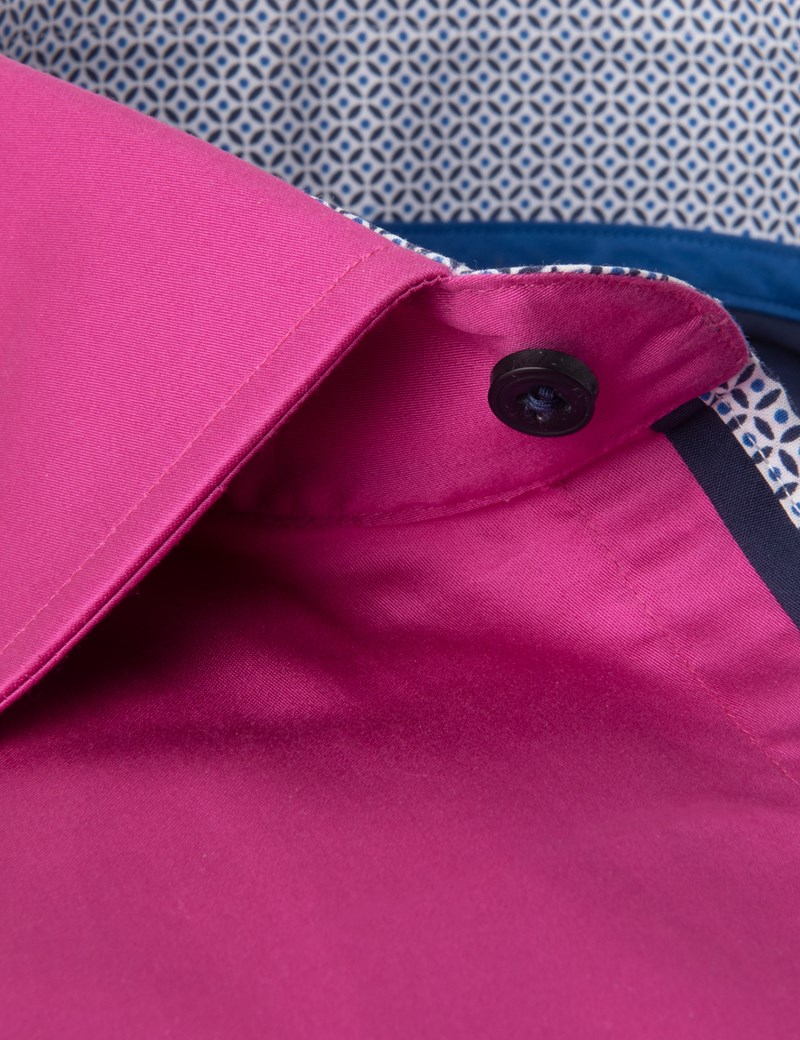Men's Curtis Magenta Slim Fit Shirt with Contrast Detail - Single Cuff