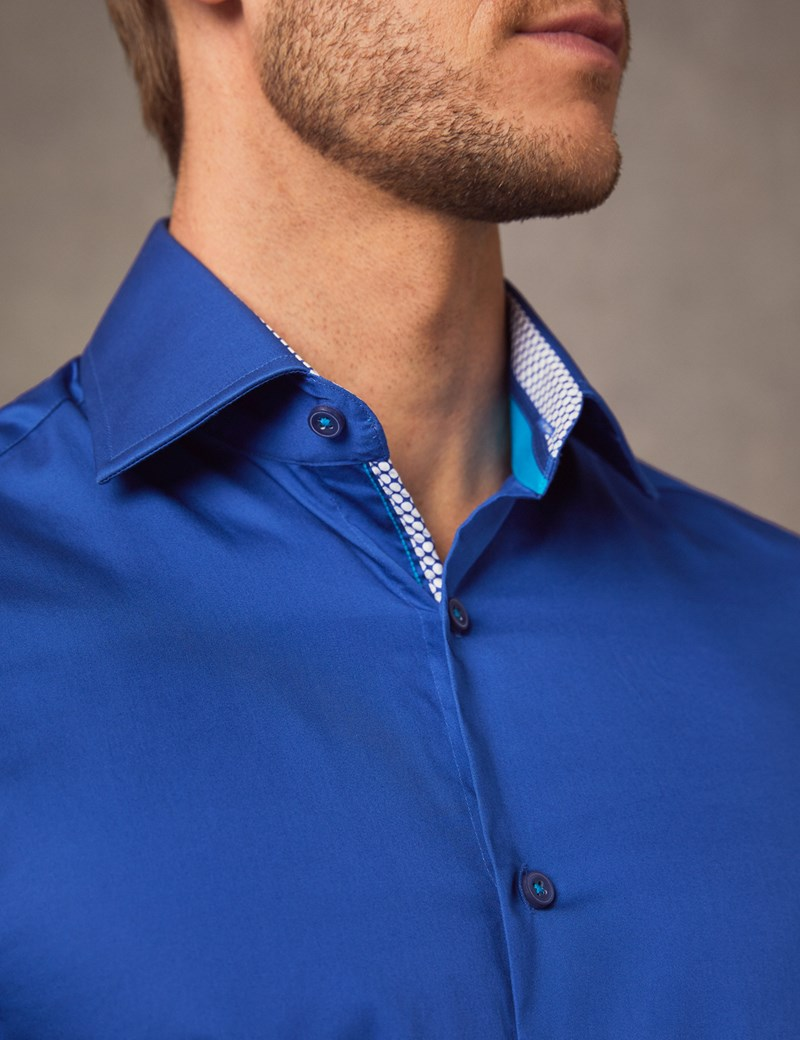 Men's Curtis Electric Blue Slim Fit Shirt with Contrast Detail - Single Cuff