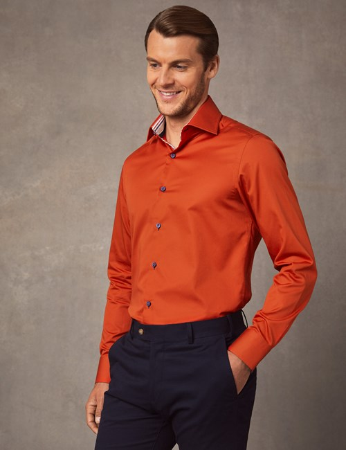 Men's Curtis Dark Orange Slim Fit Shirt with Contrast Detail - Single Cuff