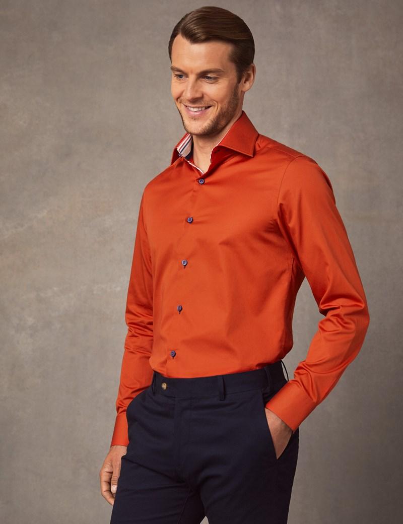 Men's Curtis Dark Orange Slim Fit Shirt with Contrast Detail - Single Cuff