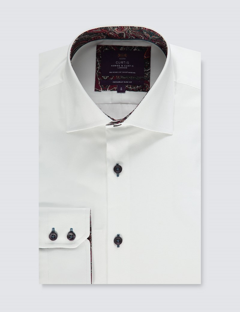 Men's Curtis White & Burgundy Slim Fit Shirt with Contrast Detail - Single Cuff