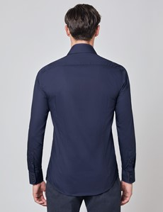 Men's Curtis Navy Piccadilly Relaxed Slim Fit Shirt With Floral Contrast Detail and Low Collar - Single Cuff
