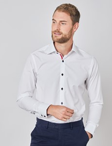 Men's Curtis White Plain Relaxed Slim Fit Shirt - Low Collar - Single Cuff